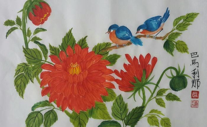 Dahlias and KentuckyBluebirds