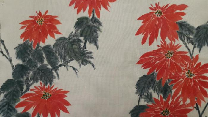 Fabric painting of poinsettias