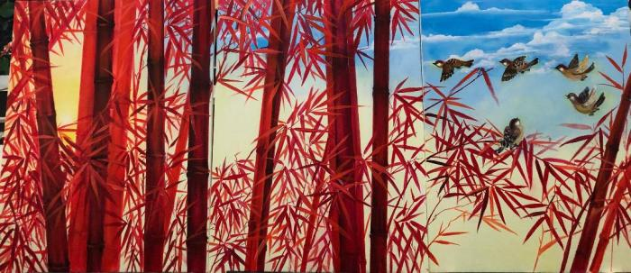 toward a red bamboo forest